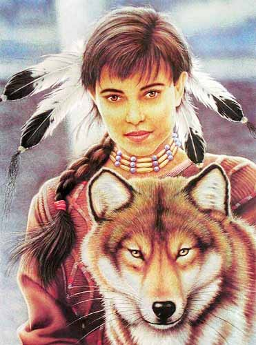 Indian Maiden & Wolf by Howard Robinson