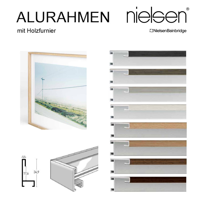 nielsen aluminium rahmen 100x100 cm schmales profil. Black Bedroom Furniture Sets. Home Design Ideas