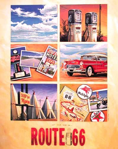 Route 66 Collage, Huber Poster