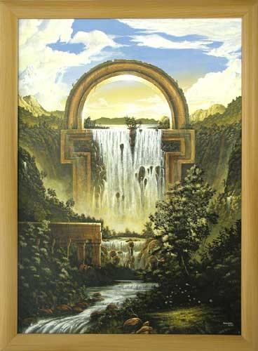 Fantastische Landschaft mit Wasserfall, Huber- Wandbild