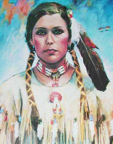 Indianerin mit Federschmuck Poster 40x50