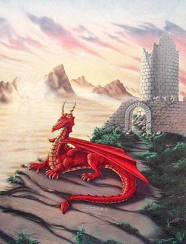 Roter Drache vor Burg Bild