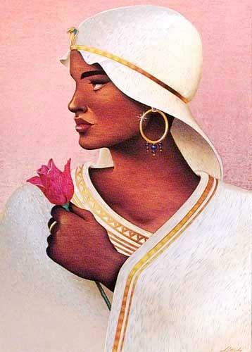 Ägyptische Frau mit roter Rose Alubild
