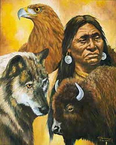 Indianer, Büffel, Wolf und Adler by J. T. Vogtschmidt