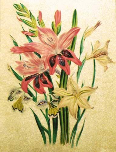 Gelbe und rote Gladiolen Alu Bild 16x21 cm