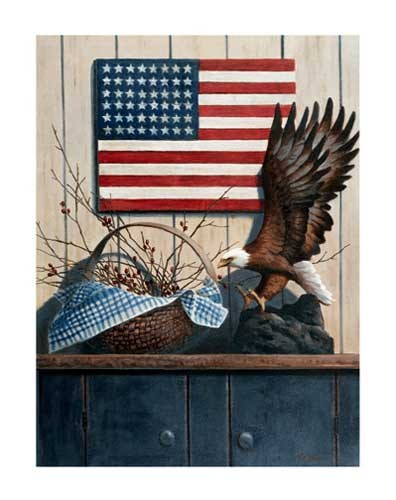 Weipkopfadler USA Fahne Kunstdruck