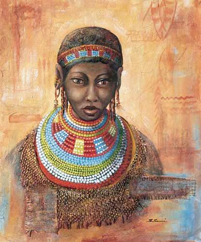 Afrikanische Frau mit Schmuck Poster
