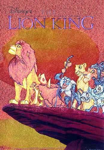 König der Löwen alle Hauptiguren auf Felsvorsprung Postkarte