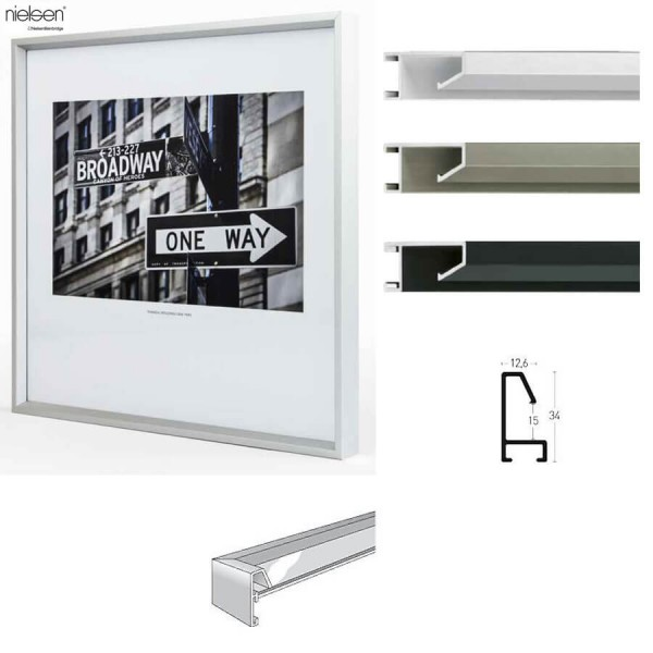 Alu-Bilderrahmen 100 x 140 silber, schwarz, grau. Nielsen Profil Nr. 53