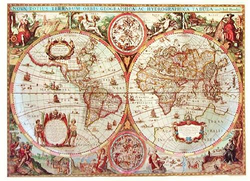 Historische Weltkarte von Hondio in Silber