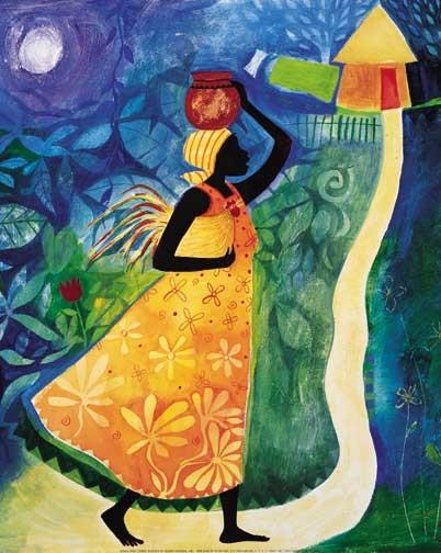 Afrikanische Frau auf dem Heimweg Poster