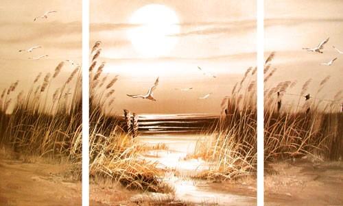 Sonnenuntergang am Meer mit Möwen- Triptychon