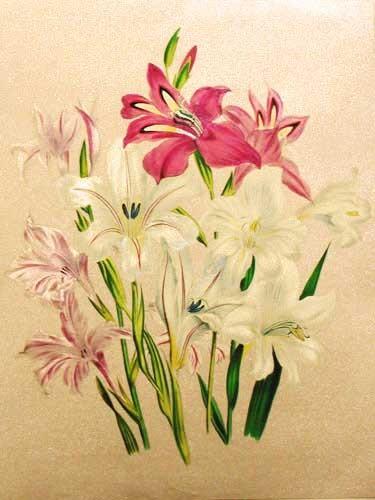 Rote, weiße und pinke Lilien Alu Druck 16x21