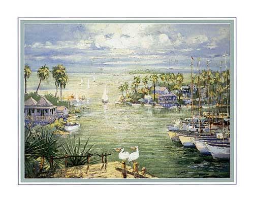 Seehafen mit Pelikanen Conte - Kunstdruck 56 x 71 cm