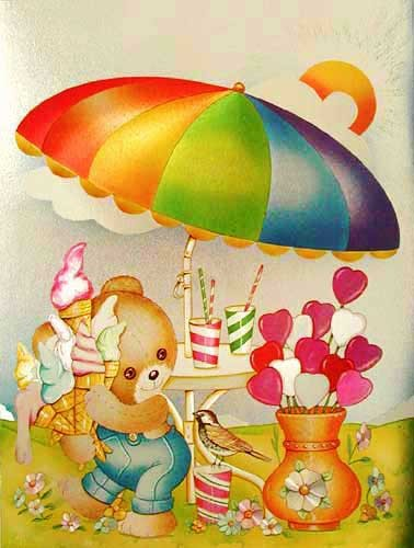 Teddy mit Eis Alubild 16x21 cm