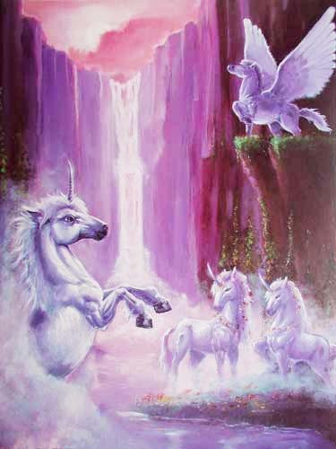 Einhörner und Pegasus vorm Wasserfall Poster