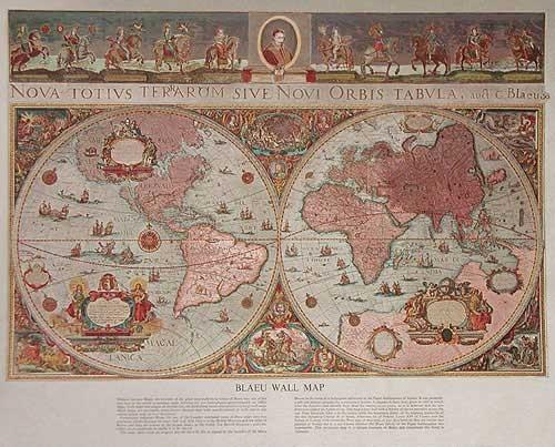 Historische Weltkarte von Blaeu in silber, Druck 21x26 cm