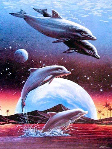 Leaping Dolphins by Alan Metz *