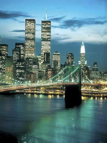 New York WTC und Brooklyn Bridge Kunstdruck 56x71 cm