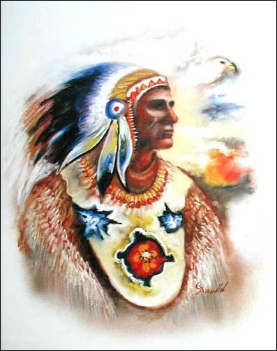 Indianerhäuptling mit Abstraktem Hintergrund Poster