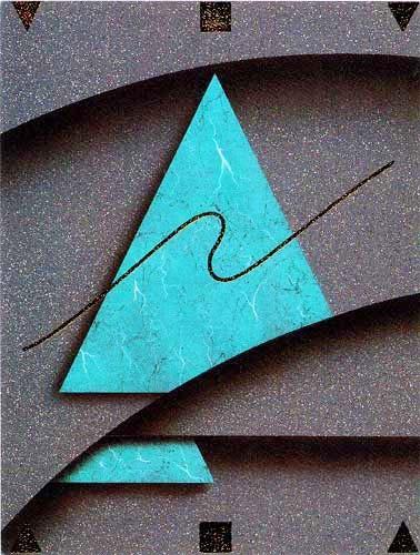 Grünes Dreieck mit Abstraktem Hintergrund- Bild 56x71