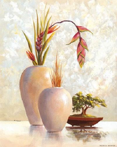 Stilleben, Zwei Weiße Vasen und Bonsai Baum I, S. Sauci
