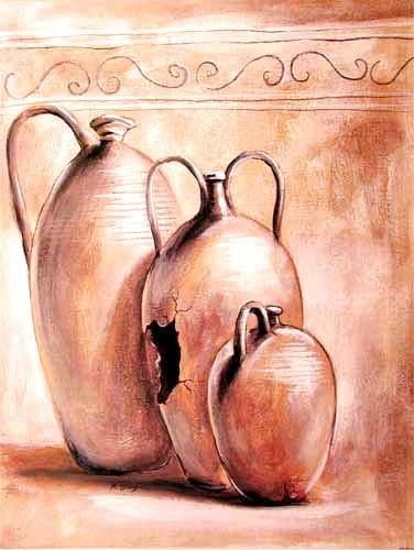 Drei Terracotta Krüge by M. Wiens *