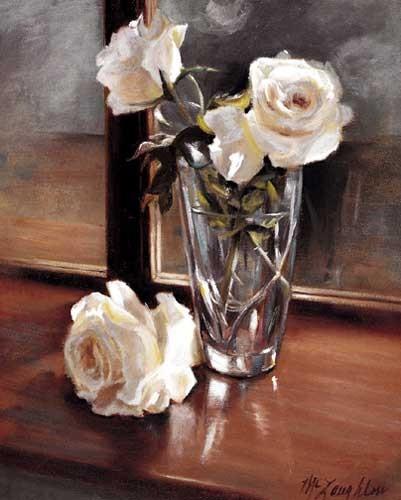 Weiße Rosen am Fenster Kunstdruck 20x25 cm