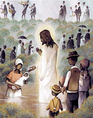 Jesus, Taufe- Kunstdruck