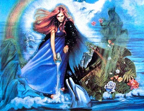 Fee / Göttin mit Wasserkrug Alu Effekt Bild