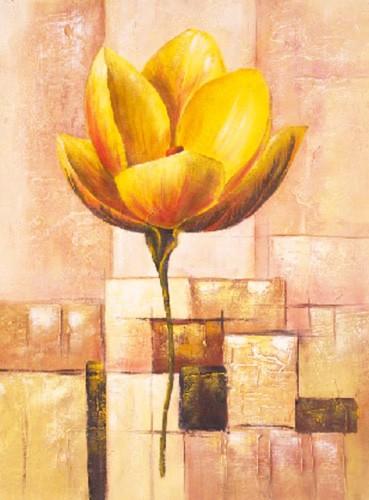 Gelbe exotische Blume mit abstraktem Hintergrund