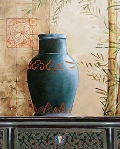 Stilleben, schwarze Vase mit roten Ornamenten