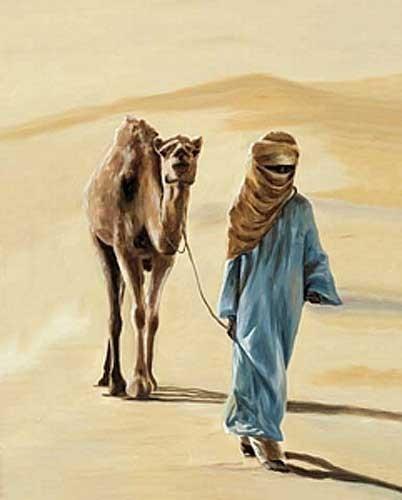 Beduin mit Kamel in der Wüste Poster