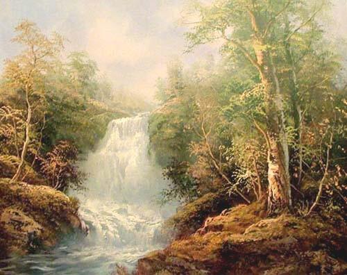 Landschaft mit schönem Wasserfall Poster