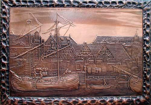 Danzig um 1850 Kupfer Relief Bild