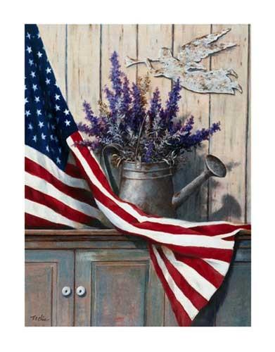 USA Fahne mit lila Blumen- Kunstdruck