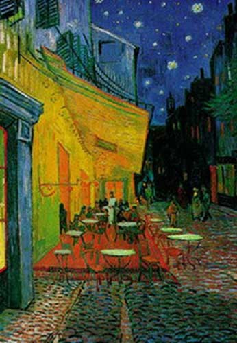 A Sidewalk Cafe at Night