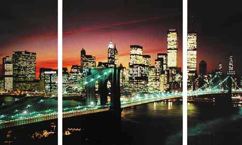 New York, Brooklyn Bridge at Night- Triptychon