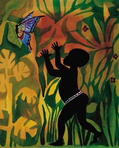 Afrikanischer Junge mit Schmetterling Poster