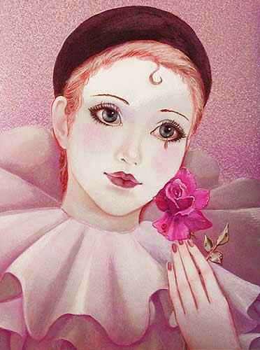 Pierott mit Rose Alu Bild