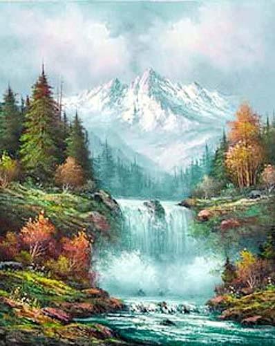 Herbstliche Berglandschaft mit Wasserfall Poster 40x50 cm