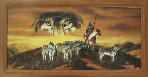 Wandbild Indianer und Wölfe