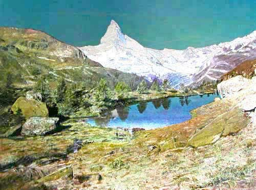 Matterhorn und Grindjisee Alu Bild 16x21