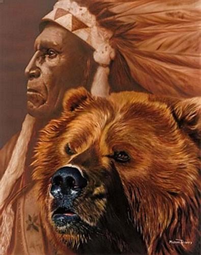 Indianer und Bär, Michael Telapary