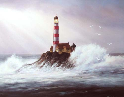 Rot-weißer Leuchtturm im Sturm Poster