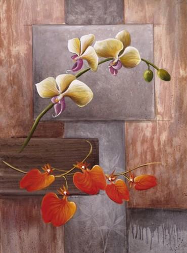 Orchidee mit abstraktem Hintergrund