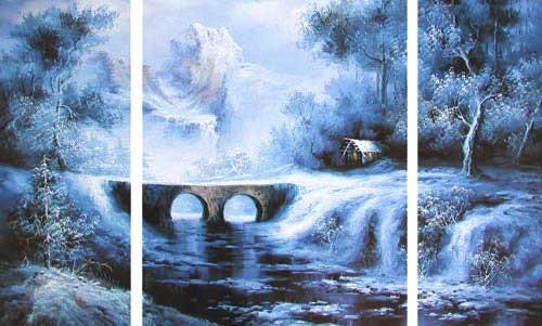 Berglandschaft mit Brücke, Triptychon-Bild