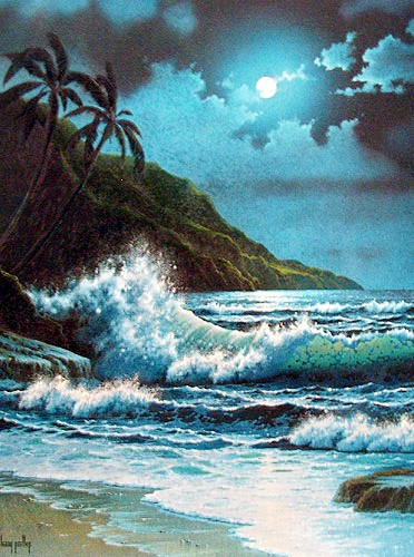 Moonlit Beach by Larry Prellop