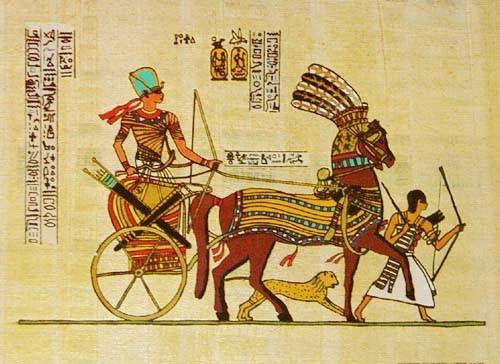 Tutanchamun im Streitwagen Alu Druck