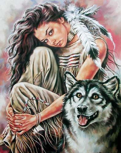 Squaw und Wolf by Bruce Lakofka